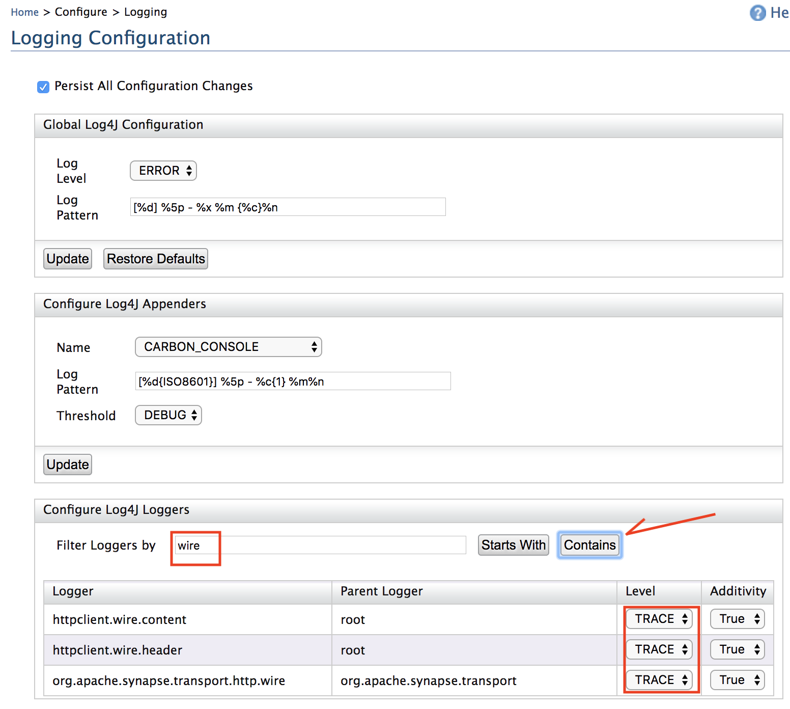 logging configuration wso2